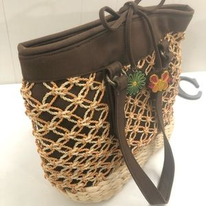 LUCKY BRAND Straw Rattan Tote Shoulder Bag